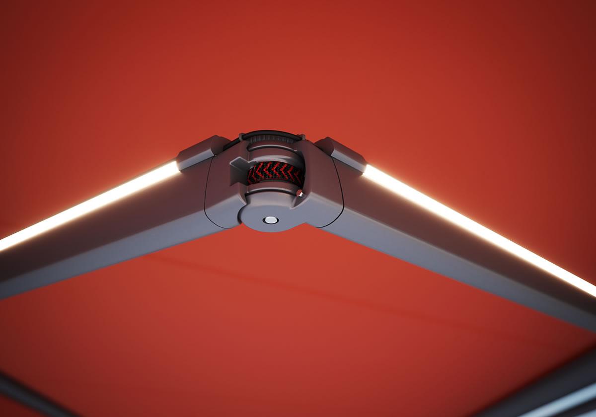 markilux Armtechnologie Detail LED-Line Gelenkarm